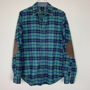 J.Crew Black Label Men's Green/Blue Plaid Flannel